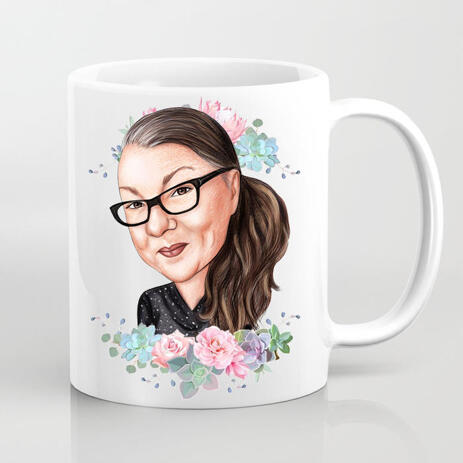 Print on Mug: Custom Photo Mug with Printed Caricature Drawing - example