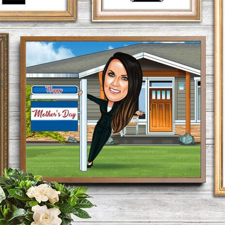 Print on Photo Paper: Custom Digital Cartoon Drawing for Mother's Day Gift - example
