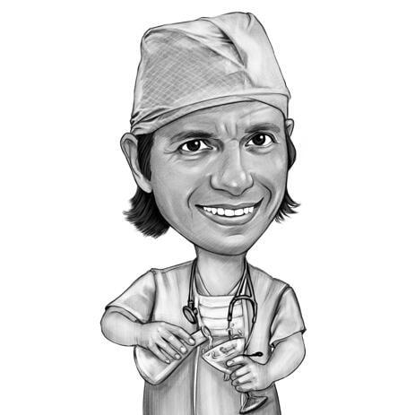 Doktors karikatyr från foton i svartvitt stil - example
