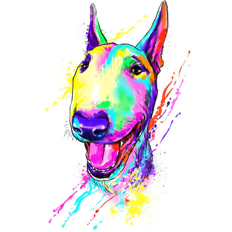 Modern-Colored Bull Terrier Headshot Cartoon Painting in Rainbow Style from Photos - example