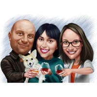 Famille avec dessin animé de chien Corgi à partir de photos dessinées à la main dans un style coloré
