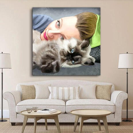 Owner with Pet Colored Caricature Portrait - Print on Canvas - example
