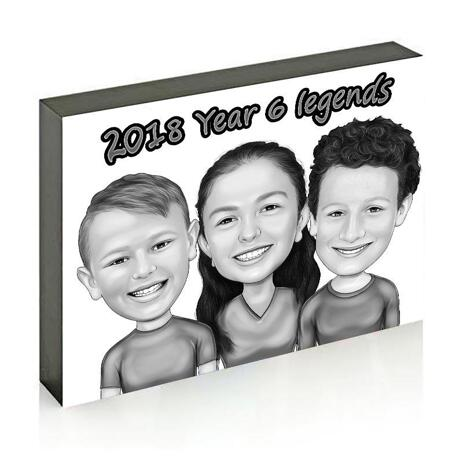 Children Caricature Printed on Photo Block - example