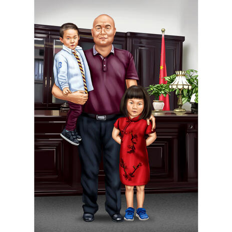 Father with Son and Daughter Full Body Portrait in Colored Style with Custom Background - example