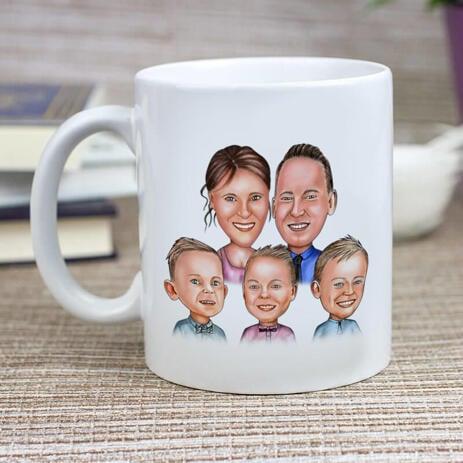 Family Portrait Caricature Print on Mug - example