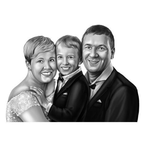 Ritratto di matrimonio in famiglia dalle foto: Bride, Groom and Kid - example