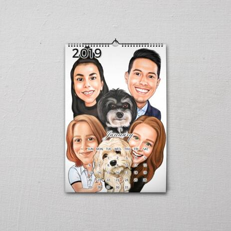 Family with Pets Caricature as Calendar - example