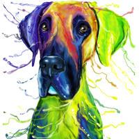 Aquarell-Karikatur-Porträt der Deutschen Dogge vom Foto