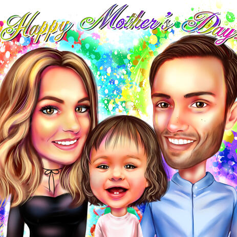 Watercolor Family Portrait for Mother's Day Gift - example