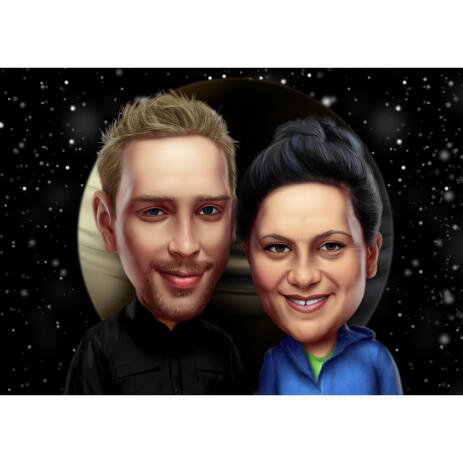 Couple Caricature in Color Style from Photos with Night Stars Background - example