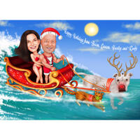 Christmas Couple Caricature with Dog in Sleigh with Ocean Background