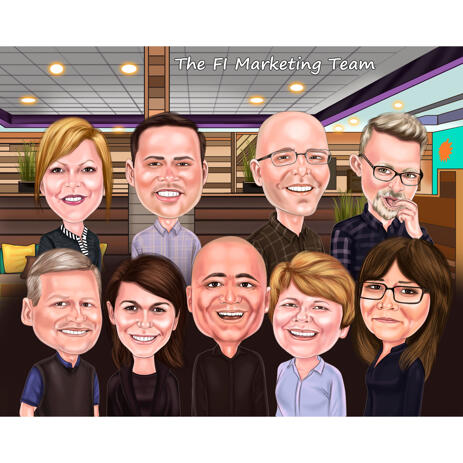 Marketing Team Cartoon from Photos for Custom Company Group Caricature Gift - example