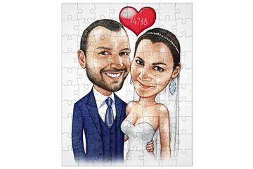 Wedding Caricature Printed on Puzzle