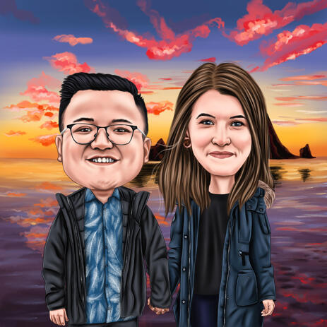 Colored Style Couple Cartoon from Photos with Sunset Background - example