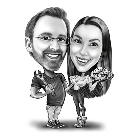 Black and White Full Body Style Couple with Different Jobs and Hobbies Caricature from Photos - example