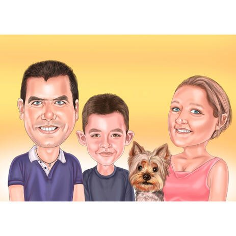 Custom Family with Dog Caricature on One Colored Background from Photo - example