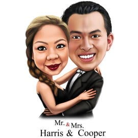 Caricature for Mr. & Mrs. - Anniversary or Wedding Gift for Passioned Couple