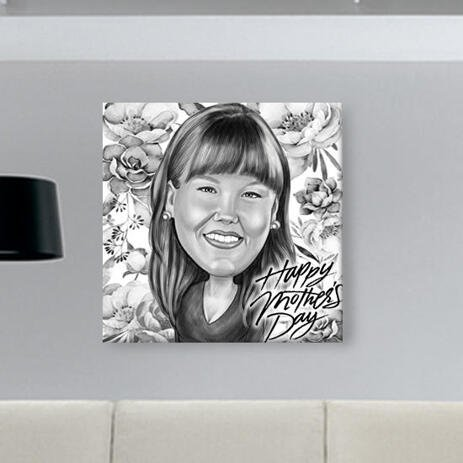 Personalized Mother's Day Gift: Pencils Caricature Printed on Canvas - example