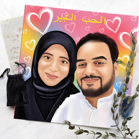Caricature for Couple with Hearts Background on Canvas Print - example
