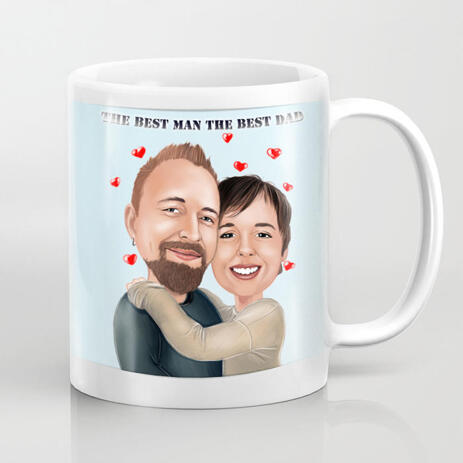 Romantic Caricature of Couple for Father Day Gift - Print on Mug - example