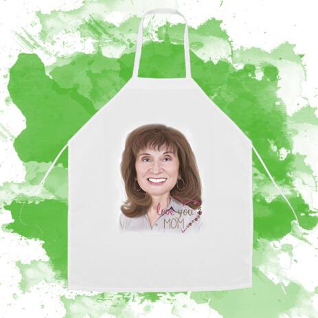 Kochschürze: Personalisierte digitale Zeichnung des Portraits vom Foto - example