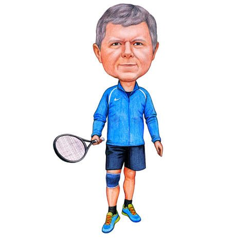 Tennis Player Caricature on White Background from Photos - example