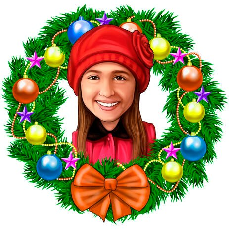 Kid in Christmas Wreath Caricature Portrait from Photos - example