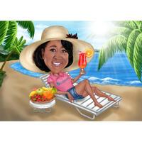 Individuelles Urlaubs-Karikatur-Geschenk mit Cocktail und Obstteller aus Fotos Plate