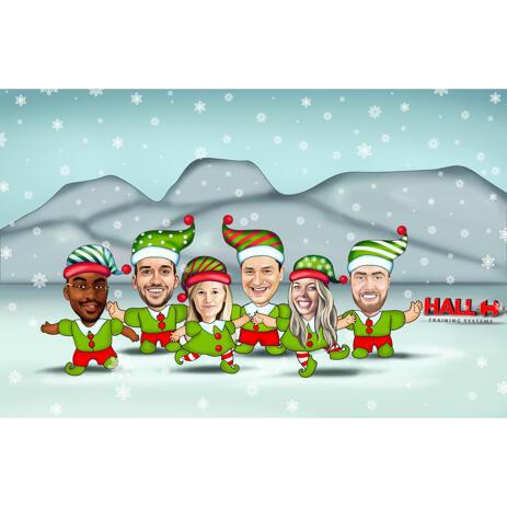 Рождественская карикатура сотрудников в костюмах эльфов нарисованная с фото - example