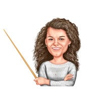Head and Shoulders Teacher Caricature Gift in Color Style from Photo