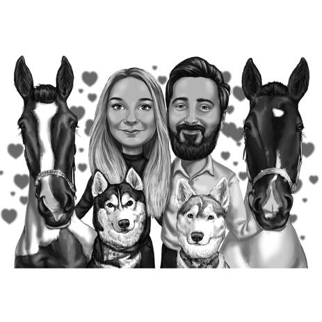 Couple with Pets Caricature from Photos in Black and White - example