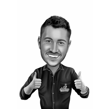 Thumbs Up Person Caricature in Black and White Style from Photos - example