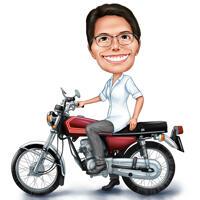 Person auf Motorrad-Karikatur im lustigen übertriebenen Farbstil von Fotos
