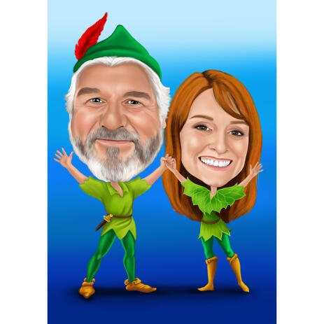 Custom Full Body Couple Caricature with One Color Background for Peter Pans Fans - example