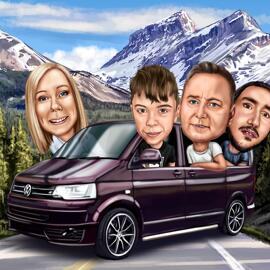 Family Caricature in Car Drawn from Photos for Family Card