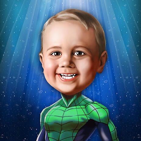 Supersankari-lastenkarikatyyri valokuvista digitaalisessa muodossa - example