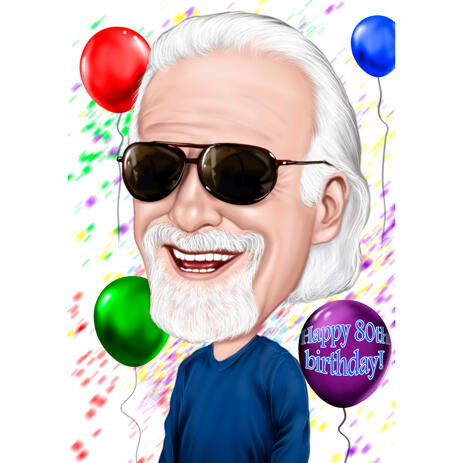 Caricature for Grandpa in Color Style for Birthday Gift - example