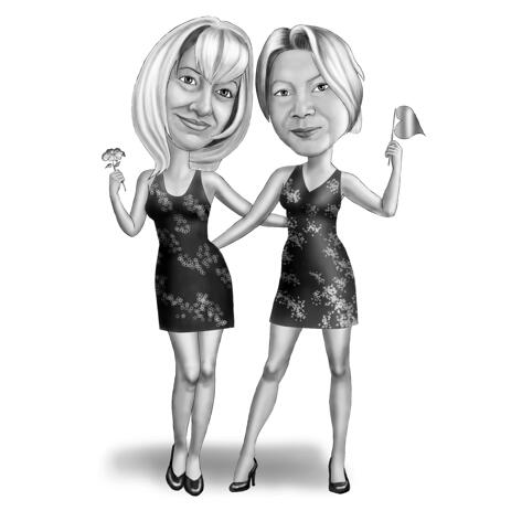 Girls Friend Cartoon Drawing in Black and White Style for Best Custom Friendship Gift - example