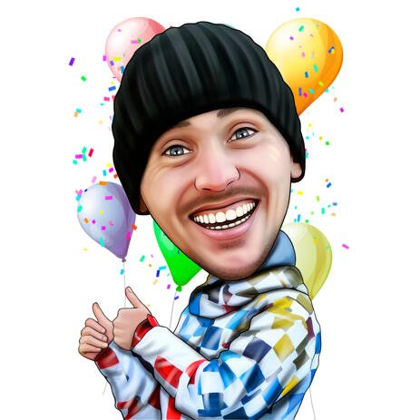 Good-Humored Personalized Caricature from Photo - Birthday Gifts for Brother - example