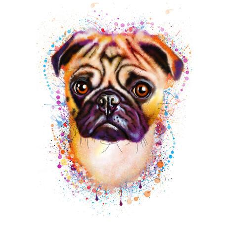 Adorable retrato de Pug dibujado a mano a partir de fotos en estilo acuarela natural - example