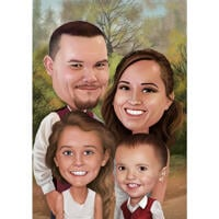 Happy Thanksgiving - Custom Family Caricature Card Gift from Photos