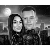 Карикатура супергероя пара мультфильм в черно-белом на фоне города