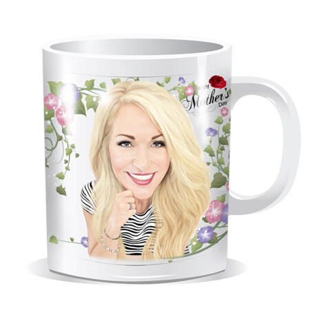 Custom Print on Mug: Colored Digital Portrait Drawing for Mother's Day Gift - example