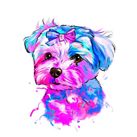 Bright Water Colour Style Pet Portrait Cartoon from Photo - example
