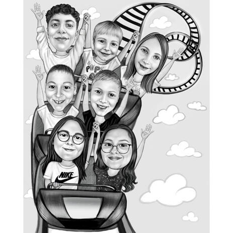 Children Group Rollercoaster Caricature in Black and White Style - example