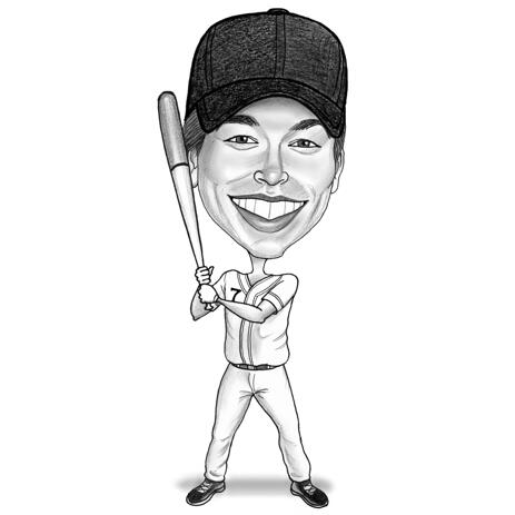 Full Body Softball Caricature from Photos in Black and White Pencil Style - example