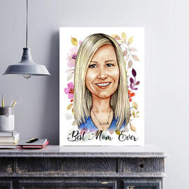 Custom Print on Canvas: Photo Drawing in Cartoon Style for Mother's Day Gift