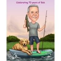 Custom Fisherman with Dog on Boat as Colored Caricature Gift from Photos