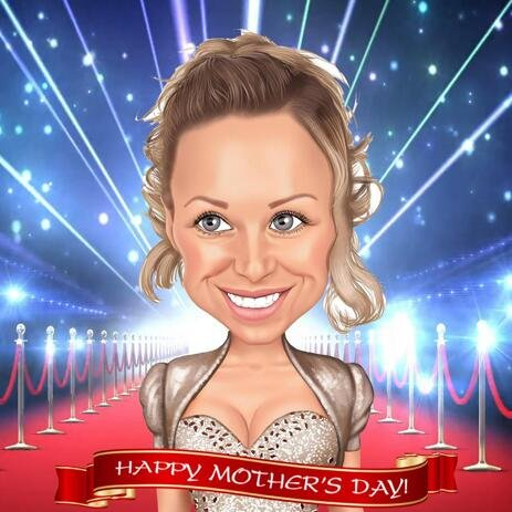 Elegant Woman on Red Carpet Caricature in Color Style for Mother's Day Gift - example
