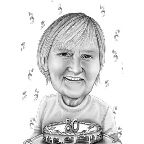 80 Anniversary Birthday Caricature Gift in Black and White - example